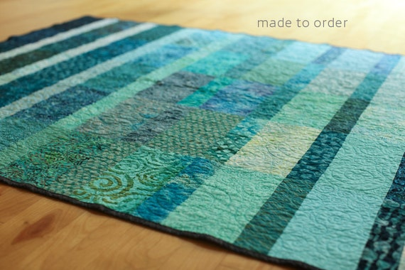 Contrast Ocean Modern Quilt - Choose Your Size - Made to Order