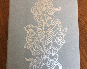 Notebook - Linocut Printed A5 Ruled Silver Snapdragons