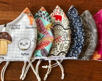 Face Masks 100% Cotton, Soft, Comfortable, Breathable, Washable, Adjustable Elastic, Filter Pocket, Nose Wire - 5 Sizes
