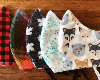 Flannel Face Masks, Soft, Comfortable, Breathable, Washable, Adjustable, Elastic, Filter Pocket, Nose Wire, 5 Sizes