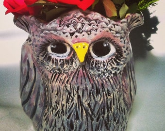 Owl Pot Vase - Grey with Purple Accents