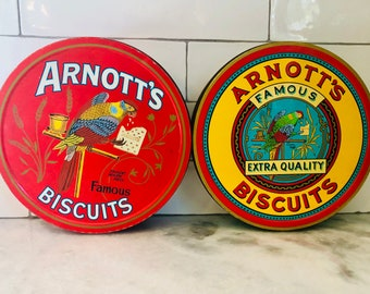 Pair of Arnott's Famous Biscuits Cookie Tins