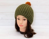 Olive green ribbed hat with orange bobble - Knitted beanie - Winter clothing gift for adults - Fun contrast