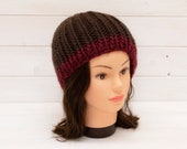 Large chunky ribbed knitted hat - brown beanie with red brim stripe - Adult winter clothing - Gifts for cold weather - Warm wool