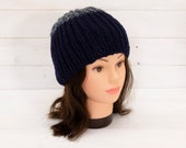 Knitted ribbed two tone blue hat - Stretchy beanie - Cold weather clothing - Gifts for winter - Soft and stretchy