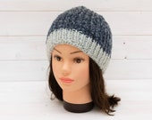 Two-tone blue ribbed beanie - Sparkly trim - Warm winter hat - Seasonal gift - Dark blue, ice blue