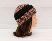 Chunky striped knitted hat - Ribbed beanie - Wide stripes - Winter hat - Seasonal gift - Red, black, brown