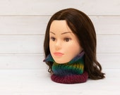 Colourful neckwarmer with turn-down collar - Unusual style - Slimline tubular scarf - Rainbow stripes - Lightweight
