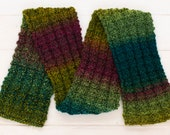 Soft, warm child's scarf - Green, blue and purple yarn stripes - Knitted gift - Winter clothing for kids