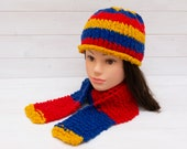 Bold red, blue and yellow kids hat and scarf set - Matching accessories - Fun clothing for children - Soft and warm