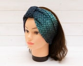 Wide knitted headband in mixed blues - Hair accessory - Winter earwarmer - Cosy hairband - Handmade gift