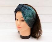 Wide knitted headband in mixed blues - Hair accessory - Winter earwarmer - Cosy hairband - Handmade gift
