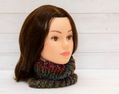 Super chunky multicoloured neckwarmer - Knitted tubular scarf - Warm winter accessory - Handmade gift - Rainbow