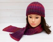 Deep pink knitted hat and scarf set - Kids winter clothing - Matching beanie and scarf - Gift for child - Magenta, cerise