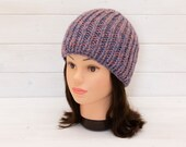 Chunky pink and blue beanie - Stretchy rib hat - Extra warm winter clothing - Gifts for cold weather - Multicoloured