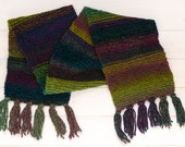 Colourful green and purple scarf with tassels - Wide striped winter scarf - Warm winter accessory - Soft and washable