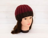 Chunky red knitted hat with brown brim stripe - Wool beanie - Cold weather gear - Winter gifts for adults - Soft and warm