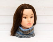 Blue-grey honeypot style neckwarmer - Pleated tubular scarf - Knitted winter clothing - Warm clothing
