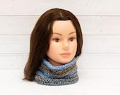 Blue-grey honeypot style neckwarmer - Pleated tubular scarf - Knitted winter clothing - Warm clothing