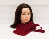 Red knitted scarf with a white flower - Embellished scarf - Girls winter clothing - Gift for kids - Scarlet, bright red