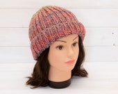 Chunky pink knitted hat - Kids hat - Turn up brim - Childrens winter clothing - Warm gift idea - Pastel pink, rose
