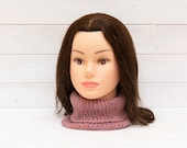 Stretchy pink knitted neckwarmer - Ribbed tubular scarf - Winter clothing gift - Slim fit