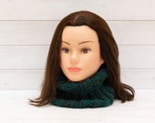 Chunky teal and brown neckwarmer - Knitted tubular scarf - Warm winter clothing - Handmade gift - Multicoloured