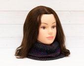 Large dark blue knitted neck warmer - Oversize cowl - Multicoloured stripes - Women's winter accessory - Seasonal gift