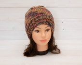 Reversible knitted hat in brown, red, orange, black mix - Two hats in one - Warm clothing - Winter gifts - Soft and cosy