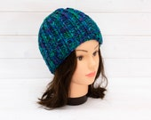 Peacock blue and green ribbed beanie - Knitted stretchy hat - Winter clothing - Warm gift