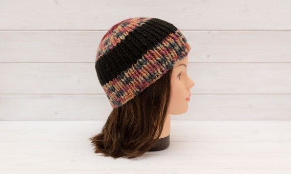 Chunky striped knitted hat - Ribbed beanie - Wide stripes -