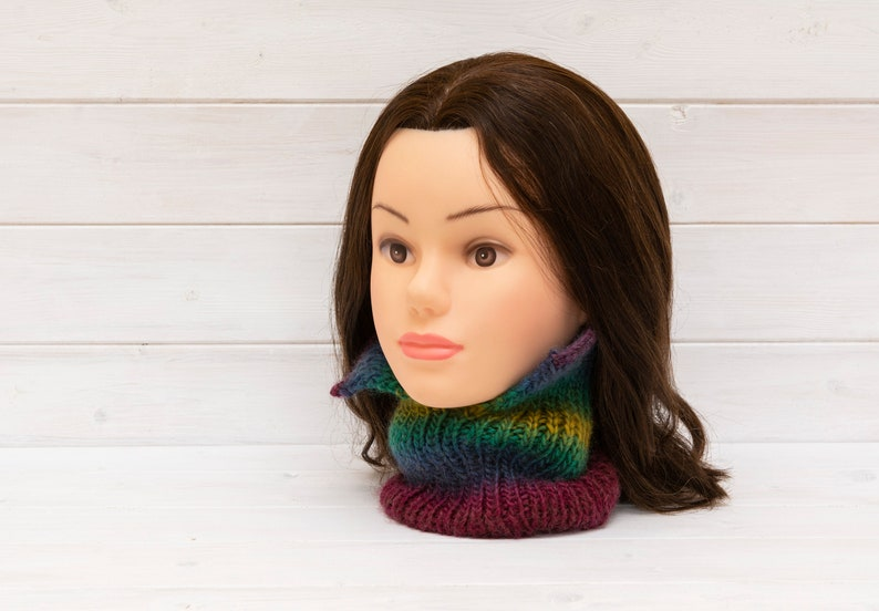 Colourful neckwarmer with turn-down collar  Unusual style  image 0