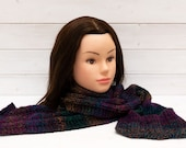Dark blue scarf with multicoloured stripes - Long soft knitted scarf - Winter clothing gift - Warm, easy care