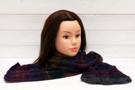 Dark blue scarf with multicoloured stripes - Long soft knitt