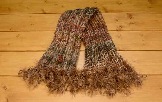 Brown knitted chunky short crossover scarf