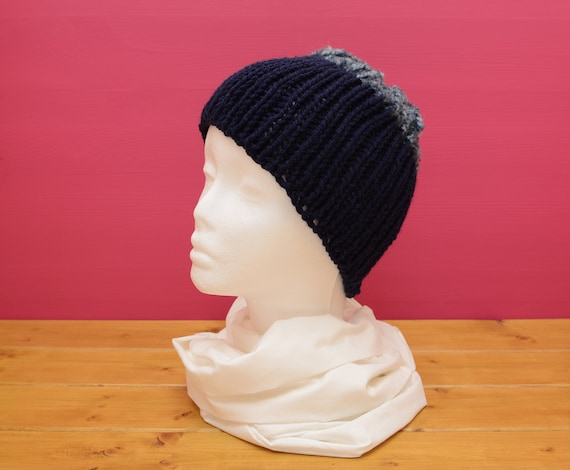 Knitted ribbed two tone blue hat