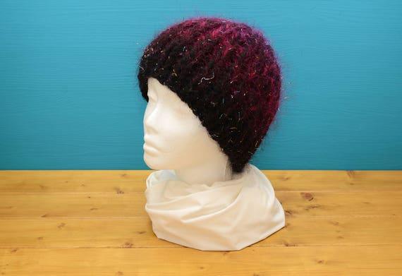 Adult black beanie hat with sparkly mohair thread
