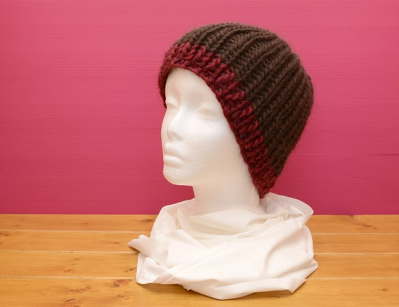 Large chunky ribbed knitted hat, brown with red brim stripe