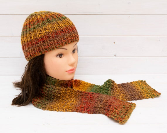 Kids' fall colours knitted hat and scarf set - Matching