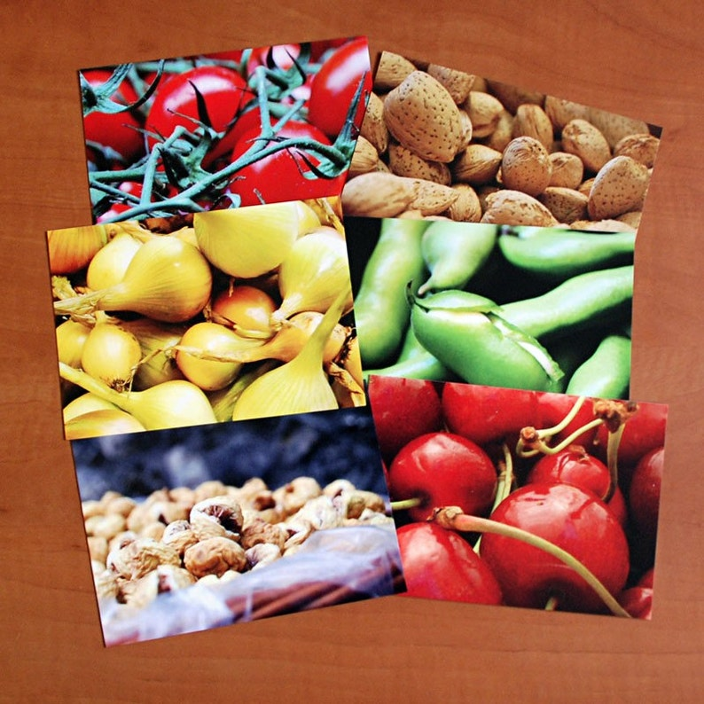Set of 6 culinary postcards image 0
