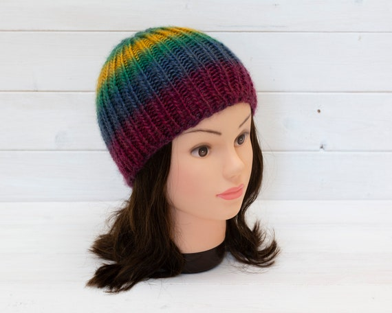 Rainbow knitted beanie hat