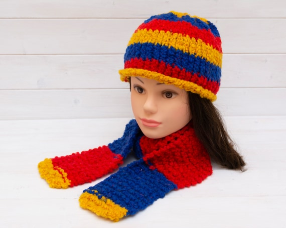 Bold red, blue and yellow kids hat and scarf set