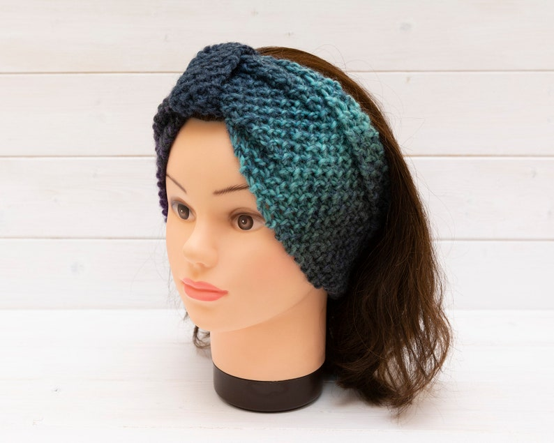 Wide knitted headband in mixed blues  Hair accessory  Winter image 0