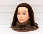 Large brown knitted neckwarmer - Oversize winter cowl - Women's winter accessory - Soft and warm - Tweed, grey