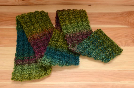Soft child's knitted scarf - green, blue and purple yarn