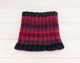 Stretchy ribbed deep pink neckwarmer - Contrasting dark blue trim - Warm winterwear gift idea - Kids and adults