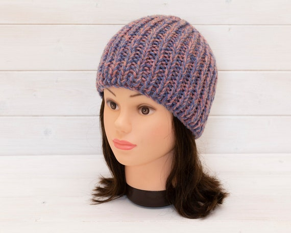 Chunky pink and blue beanie - Stretchy rib hat - Extra warm