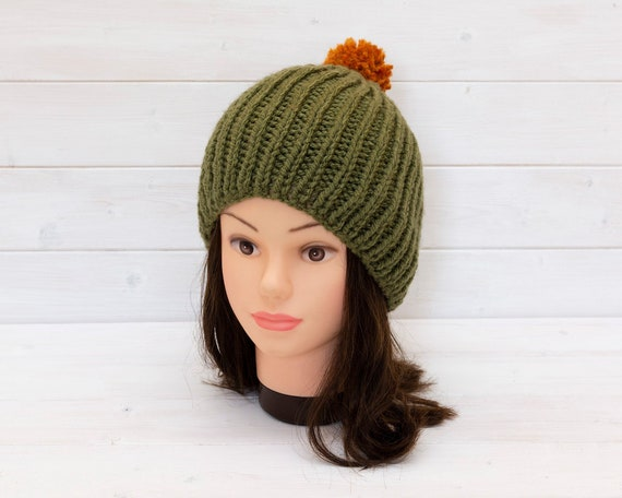Olive green ribbed hat with orange bobble - Knitted beanie -