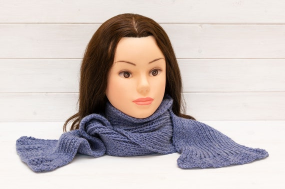 Child's knitted blue scarf with flared ends - Kids winte
