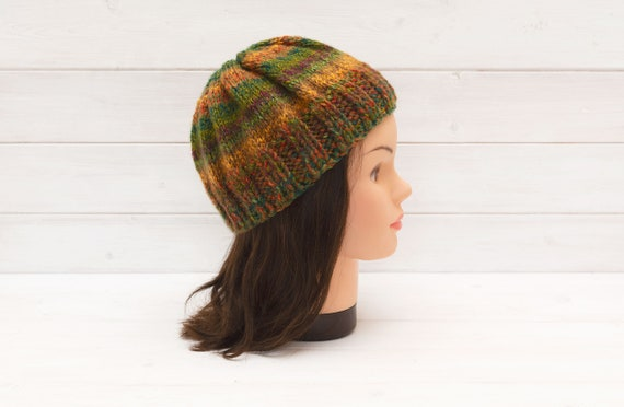 Kids' chunky multicoloured knitted hat - Striped beanie